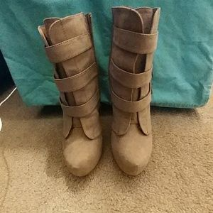 Tan Ankle Boots w/ tassels and gold studs